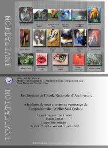 Exposition atelier Saïd Kodaid à l'école nationale d'architecture de Rabat