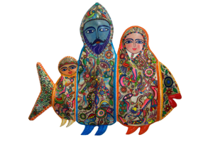 Peinture sur peau sculptée d'Abderrahim Trifis, qui a remporté le 2ème prix au festival de l'étrange d'Essaouira en 2010
